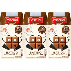 BATIDO PASCUAL CHOCOLATE PACK 3 UNDS X 200 ML.