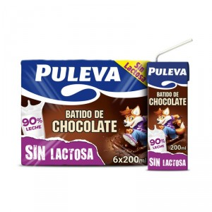 BATIDO PULEVA CHOCOLATE SIN LACTOSA PACK 6 UNDS X 200 ML