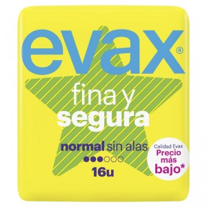 COMPRESA EVAX FINA SEGURA NORMAL 16 UNDS