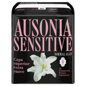 COMPRESA AUSONIA SENSITIVE NORMAL ALAS 14 UNDS