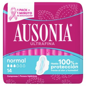 COMPRESA AUSONIA CON ALAS NORMAL 14 UNDS