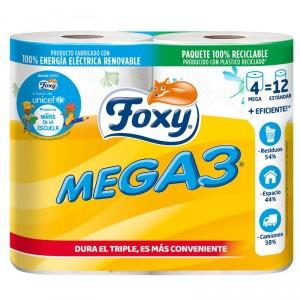 PAPEL HIGIENICO FOXY MEGA3 2 CAPAS 4 ROLLOS