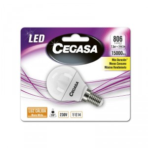 LAMPARA CEGASA LED ESFERICA 7,5W 60W E14 CALIDA
