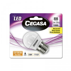 LAMPARA CEGASA LED ESFERICA 7,5W 60W E27 CALIDA