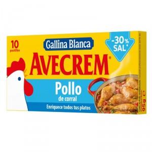 CALDO AVECREM POLLO 10 PASTILLAS -30% SAL 95 GRS