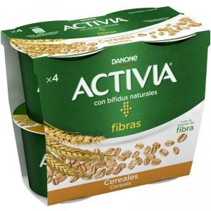 YOGUR ACTIVIA FIBRAS CON CEREALES PACK 4 UNDS X 120 GRS