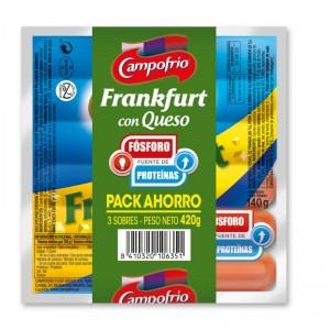 SALCHICHAS CAMPOFRIO FRANKFURT QUESO PACK 3 UND. 420 GRS