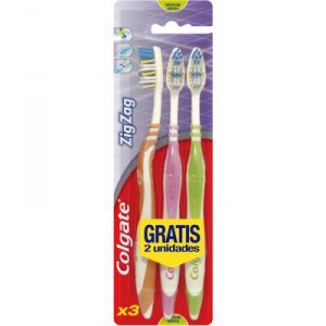 CEPILLO DENTAL COLGATE ZIGZAG MEDIO PACK 1 + 2 UNDS
