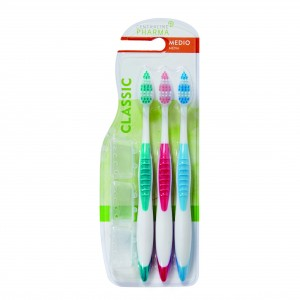 CEPILLO DENTAL CENTRA LINE PHARMA BIMATERIAL MEDIO PACK 3 UN